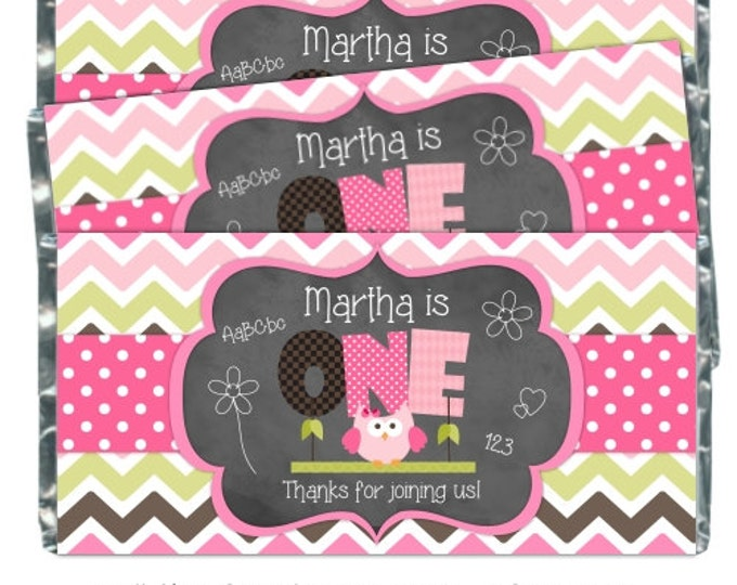 First Birthday Candy Wrappers, Owl 1st  Birthday Printable Candy Wrappers, 1st Birthday Chalkboard Chocolate Bar Candy Wrappers -  YOU PRINT