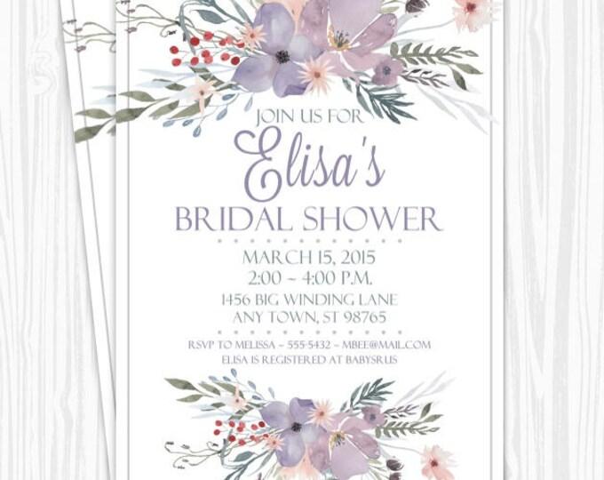 Printable Bridal Shower Invitation, Purple Watercolor Floral Wedding Shower Invite, Printable Shower Invite, CUSTOM Design, 4x6 or 5x7