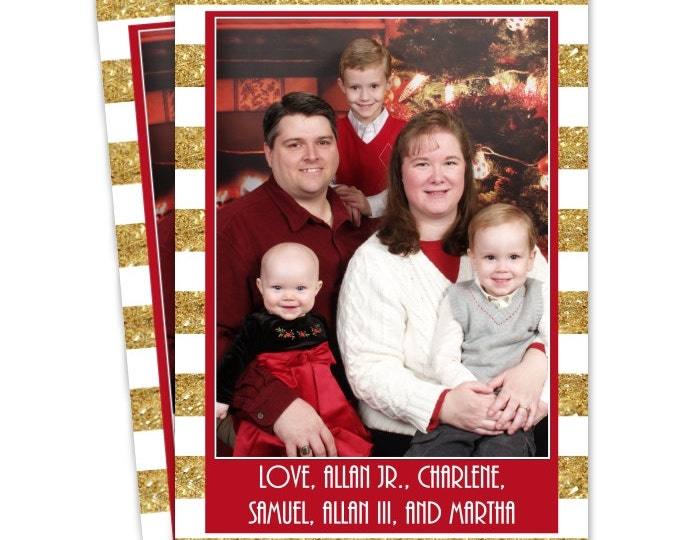 Custom Christmas Card, Holiday Photo Card, New Year's Photo Card, custom for YOU - 5x7 or 4x6 size, Glitter Gold Stripes