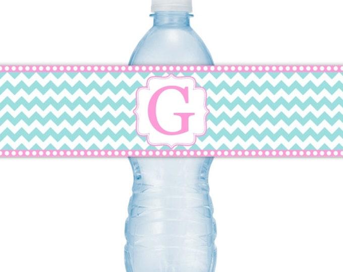 Wedding Monogram Printable Water Bottle Labels - CUSTOM Printable Chevron Water Bottle Labels, YOU print, you cut, DIY water bottle labels