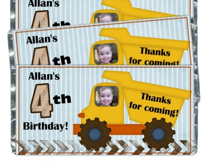 Printable Candy Wrappers, Construction Custom Candy wrappers, Birthday Candy Wrappers - fit over chocolate bars - CUSTOM design for you