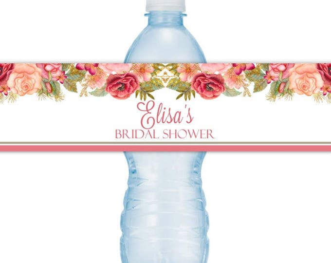 Wedding Water Bottle Labels - CUSTOM Printable Rose Gold Bridal Shower Water Bottle Labels, YOU print, you cut, DIY water bottle labels
