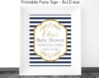 Baby Shower Printable Sign, Navy Stripe and Gold Printable Sign, Gold Accent with Navy Baby Shower Sign, 8x10, YOU PRINT