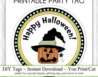 Halloween Printable Tags, Cute Pumpkin Witch Tags, DIY Party Tags, You Print, You Cut, INSTANT DOWNLOAD