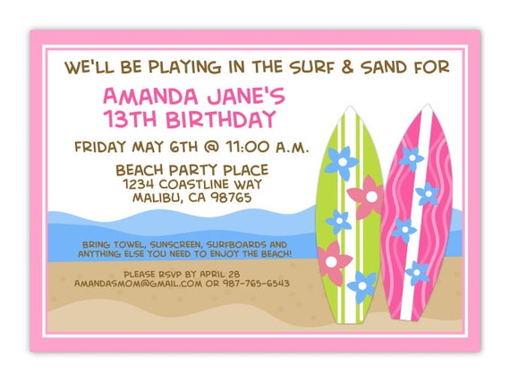 beach party birthday invitation ocean birthday invitation etsy