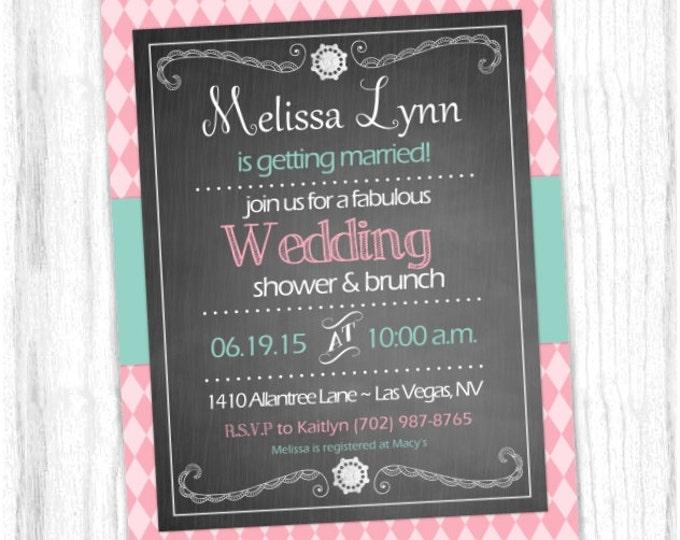 Bridal Shower Invitation, Wedding Shower Invite, Printable Bridal Shower Invite, CUSTOM Digital Design- 4x6 or 5x7 size - YOU print