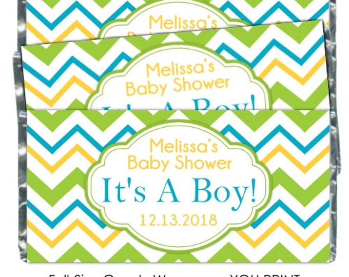 PRINTABLE Baby Shower Candy Wrappers - Green Yellow and Teal Chevron, Chocolate Bar Candy Wrappers -  new baby, baby shower