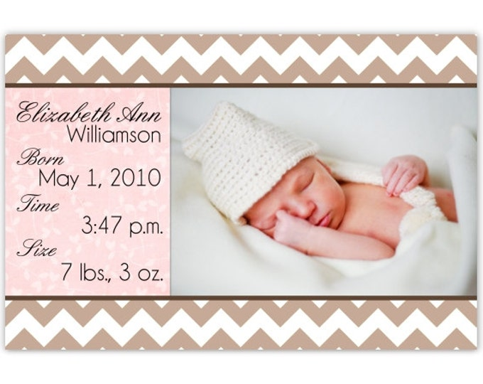 Baby Birth Announcement, New Baby Announcement, Custom Birth Announcement, Photo Announcement, Printable, Digital file, 4x6 size - YOU PRINT
