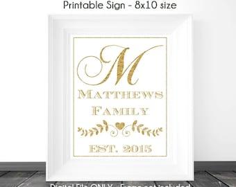 Gold Glitter Monogram Sign, Bridal Shower Printable Sign, Wedding Printable Sign, Family Monogram, Custom Monogram Sign, 8x10, YOU print