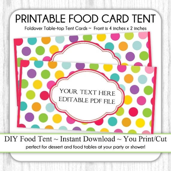 editable circus polka dot table top tent cards carnival etsy