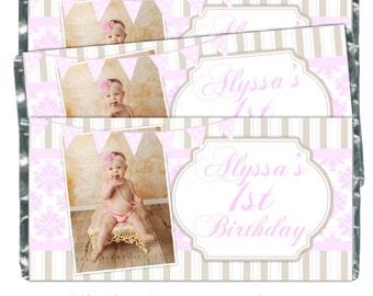 Printable Candy Wrappers, You Print Custom Candy wrappers, Birthday Candy Wrappers - fit over chocolate bars - CUSTOM design for you