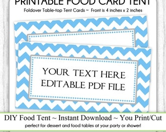 Editable Blue Chevron Table Top Tent Cards, Baby Shower Food Cards, Shower Food Tents, Table-top, foldover, You Print, DIY, Instant Download