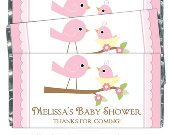 Baby Shower Candy Wrappers, Sweet Pink Birds Candy Wrappers, Printable Candy Wrappers, Chocolate Bar Candy Wrappers - custom baby shower DIY