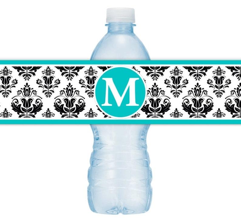 CUSTOM Monogram Water Bottle Labels Damask Water Bottle Labels Printable Water Bottle Labels DIY water bottle labels YOU print you cut