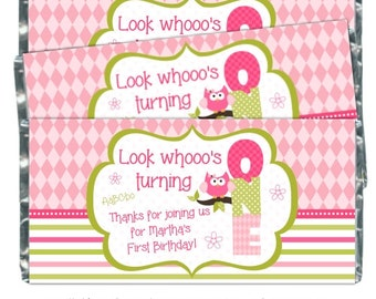 First Birthday Candy Wrappers, Owl 1st  Birthday Printable Candy Wrappers, 1st Birthday Baby Owl Chocolate Bar Candy Wrappers -  YOU PRINT
