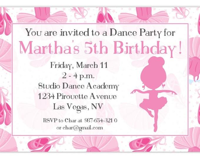 Ballerina Party Birthday Invitation, Dance Birthday Invitation, Ballet Birthday Invite, Digital Design - CUSTOM for You, 4x6 or 5x7 size