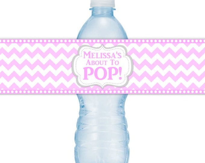 CUSTOM Baby Shower Water Bottle Labels, Printable Pink Chevron About to Pop Water Bottle Stickers, DIY water bottle labels