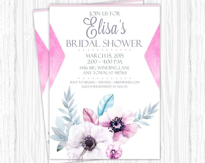 Printable Bridal Shower Invitation, Watercolor Floral and Feather Wedding Shower Invite, Printable Shower Invite, CUSTOM Design, 4x6 or 5x7