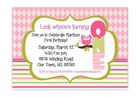 Owl First Birthday Invitation 1st