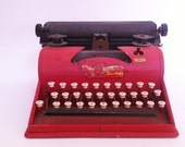 Vintage retro 1950s red Tom Thumb Child typewriter toy photo prop display decor