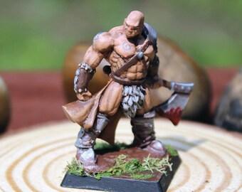 Painted Metal Miniature - Human Barbarian, Fighter, Warrior