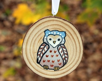 Cute Owl Ornament - Hand Painted - One of a Kind