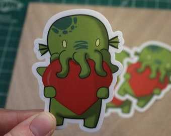 Cthulhu Loves Stickers - Waterproof Vinyl sticker