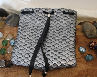 Silver Dragon Scale Pouch - Dice Bag - Free d20
