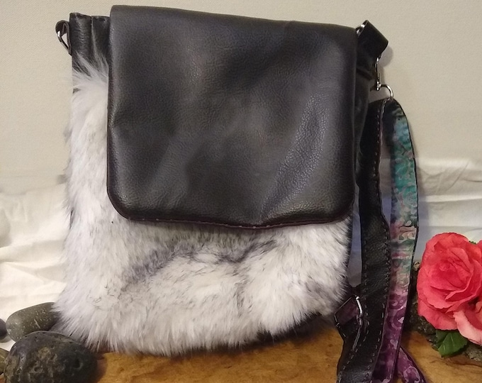 Featured listing image: Handmade Satchel Bag - Faux Fur and Leather Shoulder Bag