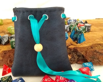 Mini Pouch - Blue Faux Leather Pouch - Dice Bag of Holding - Free d20
