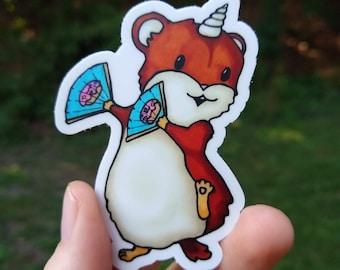 Cheerleader Hamster Unicorn Waterproof Vinyl Sticker