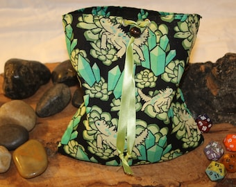 Crystal Lizard Pouch - Bag of Holding - Reversable DIce Pouch - Free d20