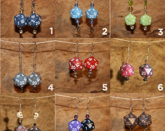 Dice Earrings - Polyhedral d20, Handmade Wire Wrapped Earrings
