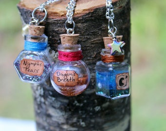 Creature Potion Charm Necklace - Dragon's Breath, Nymph's Tears, Night Hag Potion