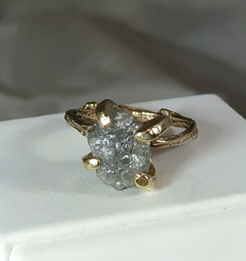4 carat raw Diamond Ring Rough Diamond engagement ring 14 kt image 0