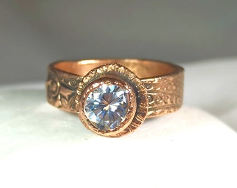 Moissanite Solid Rose Gold Ring , 1 Carat Moissanite  and Ancient Style 14 kt  Solitaire Ring, Rose Gold Jewelry