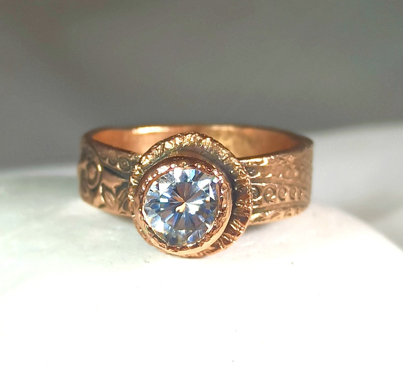 Moissanite Solid Rose Gold Ring  1 Carat Moissanite  and image 0