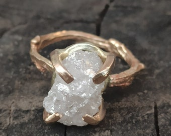 RESERVED FOR JAZ,7.8 Carat White Raw Diamond Engagement Ring, 14k Gold Branch Style Rough Diamond Ring - Gold and Diamond Statement Ring