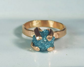 Blue Rough Diamond Solitaire Ring, Raw Diamond Engagement Ring, 14 kt Rose Gold and Raw Diamond Ring