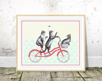 Cats on bicycle print, cats on bike drawing, cycling cats, 5 x 7, 8 x 10, 11 x 14