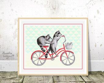 Raccoons on bike print, cycling raccoons, biking raccoons, raccoons drawing, 5 x 7, 8 x 10 and 11 x 14