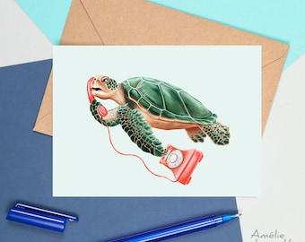 Turtle card, turtle birthday card, turtle greeting card, turtle on the phone, sea turtle