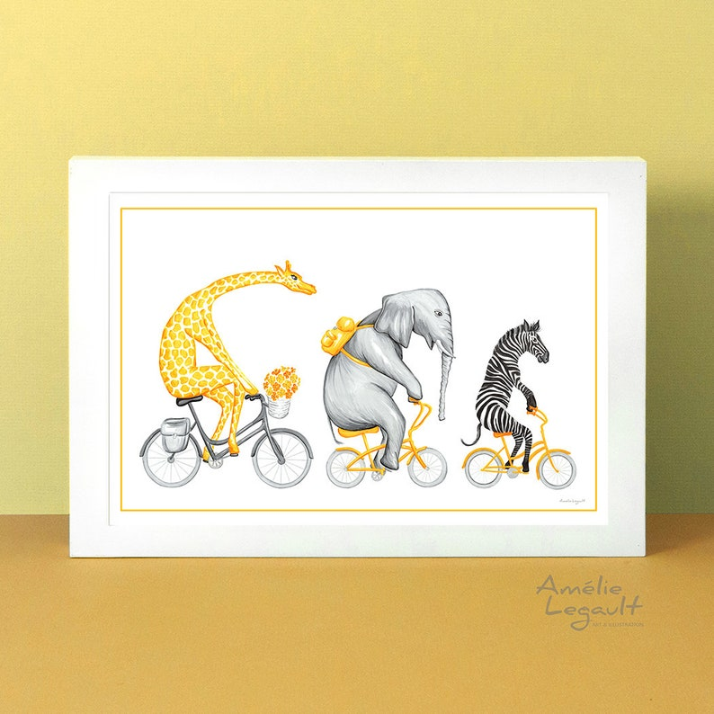 Giraffe elephant and zebra riding their bicycle cycling image 0