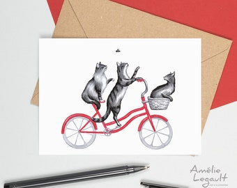 Cat card, Cat birthday card, greeting card, birthday card, Cats on a bicycle card, three cat card