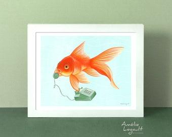 Goldfish art print, goldfish print, goldfish art work, goldfish on the phone, goldfish illustration, 5 x 7'', 8 x 10'' and 11 x 14'' print