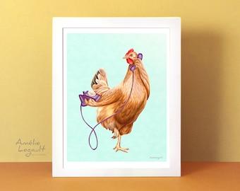 Chicken print, chicken art print, hen painting, hen illustration, hen art work, hen on the phone, 5 x 7'' 8 x 10'' and 11 x 14'' print