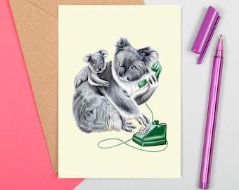 Koala card, koala birthday card, koala greeting card, mother's day card, birth day, baby koala, mother koala, father's day card