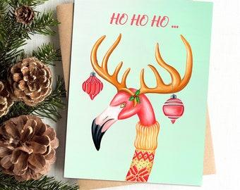 Flamingo card, Christmas card, Flamingo reindeer, holiday card, greeting card, ENGLISH