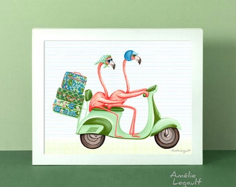Pink flamingo wall art, flamingo print, flaming illustration, flamingo on their moped scooter, painting, 5 x 7'', 8 x 10'' & 11 x 14'' print