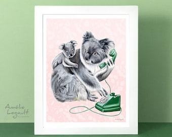 Koala print, koala art print, koala decoration, koala illustration, koala on the phone, baby koala, 5 x 7'', 8 x 10'' and 11 x 14'' print